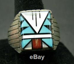 VTG ZUNI OLD PAWN Sterling Silver Ring TURQUOISE CORAL MOP ONYX Mosaic Inlay 13