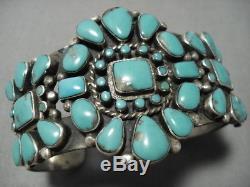 Very Rare Huge Vintage Navajo Turquoise Sterling Silver Cluster Bracelet