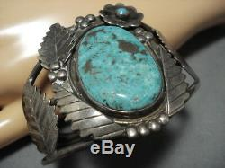 Very Rare Vintage Navajo'green Old Kingman Turquoise' Sterling Silver Bracelet