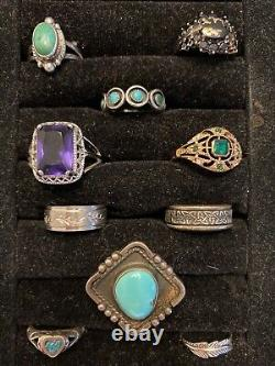 VintageNow 925 Sterling Silver Ring Jewelry Lot Turquoise Native American