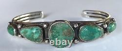 Vintage 1930's Navajo Indian Silver Blue Green Turquoise Row Cuff Bracelet