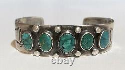 Vintage 1930's Navajo Indian Silver Green & Blue Turquoise Cuff Bracelet