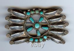 Vintage 1930's Navajo Indian Silver Turquoise Concho Pin Brooch