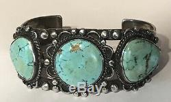 Vintage 1930's Navajo Indian Silver Turquoise Cuff Bracelet