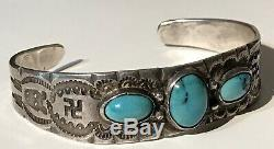 Vintage 1930's Navajo Indian Silver Turquoise Whirling Logs Cuff Bracelet