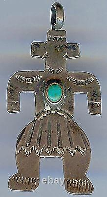 Vintage 1930's Navajo Indian Stamped Silver & Turquoise Figure Fob Pendant