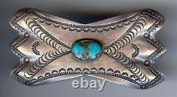 Vintage 1930's Navajo Indian Turquoise Stamped Silver Pin Brooch