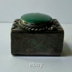 Vintage 1930s Navajo Indian Silver Turquoise Scarf Slide Or Buckle Part