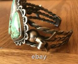 Vintage 1930s Navajo Sterling Silver Natural Green Turquoise Cuff Bracelet