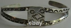 Vintage 1940's Navajo American Indian Silver Cuff Bracelet With Stampwork