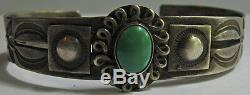 Vintage 1940's Navajo Indian Silver Green Turquoise Cuff Bracelet
