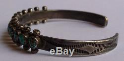 Vintage 1940's Navajo Indian Silver & Turquoise Cuff Bracelet