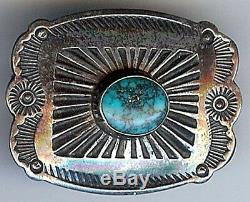 Vintage 1940's Navajo Indian Stampwork Silver Spiderweb Turquoise Pin Brooch