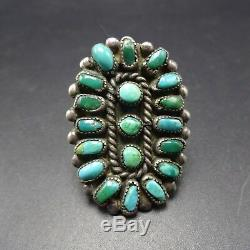 Vintage 1940s NAVAJO Sterling Silver TURQUOISE Cluster Petit Point RING size 8