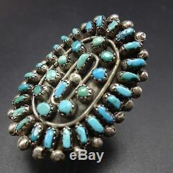 Vintage 1940s ZUNI Sterling Silver TURQUOISE Petit Point Cluster RING, size 8