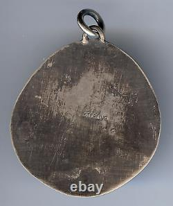 Vintage 1950's Zuni Indian Sterling Silver Inlaid Onyx Turquoise Pendant