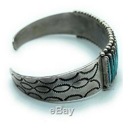 Vintage 1960's Zuni Sterling Silver Sleeping Beauty Turquoise Cuff Bracelet