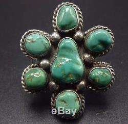Vintage 1960s NAVAJO Sterling Silver & TURQUOISE Cluster RING, size 7
