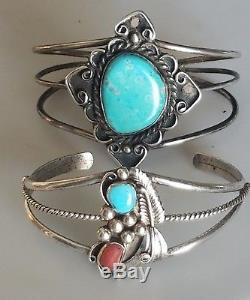 Vintage 2 Navajo Sterling Silver 925 Turquoise and Coral Stone Cuff Bracelet