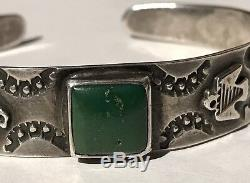 Vintage 40's Navajo Indian Silver Cerrillos Turquoise Thunderbird Cuff Bracelet