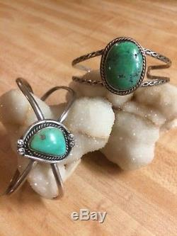 Vintage 925 Sterling Silver Turquoise Cuff Bracelet Lot of 4 Native Am & Taxco