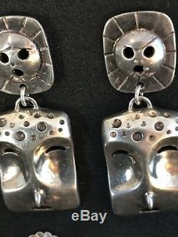 Vintage Aleut Denise Wallace Sterling Mask Earrings Estate Find