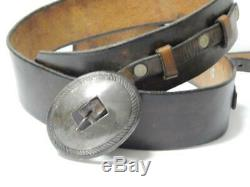 Vintage Antique First Phase Navajo Indian Coin / Sterling Silver Concho Buckle