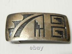 Vintage Antique Hopi Indian Coin / Sterling Silver Western Buckle Rodeo Cowboy