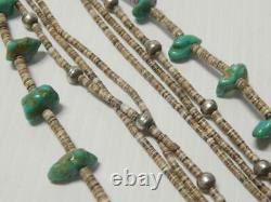 Vintage Antique Santo Domingo Pueblo Indian Turquoise Nugget + Heishi Necklace