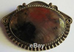 Vintage Beauty 1940's Navajo Indian Silver Petrified Wood Pin Brooch