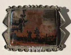 Vintage Beauty Navajo Indian Silver Scenic Petrified Wood Pin Brooch