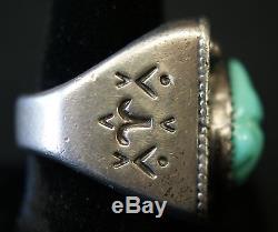 Vintage Bernard Sr & Alice Leekya Homer Zuni Carved Turquoise Frog Silver Ring