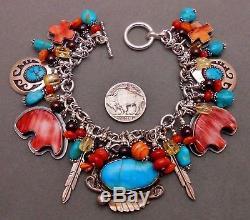 Vintage Charms Navajo Donovan Cadman Dan Dodson sterling 925 Turquoise Bracelet