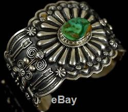Vintage D CADMAN Old Pawn Navajo Royston Turquoise Thick Sterling Bracelet WOW