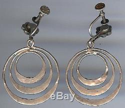 Vintage Dishta Zuni Indian Silver Turquoise 3 Hoop Screw Back Earrings