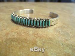Vintage E LALIO ZUNI Sterling Silver NEEDLEPOINT Turquoise ROW Bracelet