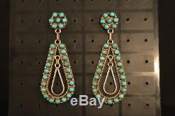 Vintage E. L. LONASEE NATIVE AMERICAN Pair of TURQUOISE EARRINGS Jewelry USA