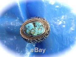 Vintage Early Old Pawn Sterling Turquoise Men's Navajo Hand Made Ring Sz 10.75
