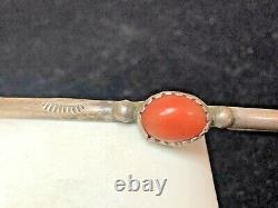 Vintage Estate Sterling Silver Coral Bracelet Native American Old Pawn Cuff