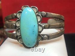 Vintage Estate Sterling Silver Native American Cuff Bracelet Turquoise Old Pawn
