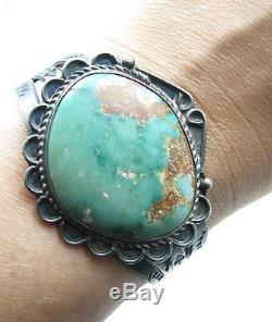 Vintage Fred Harvey Era Navajo Royston Turquoise Arrows Sterling Cuff Bracelet