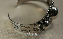 Vintage Fred Harvey Era Navajo Triple Hollow Dome Silver Cuff Bracelet