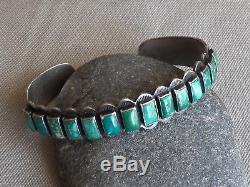 Vintage Fred Harvey Era Silver Rectangular Green Turquoise Row Cuff Bracelet