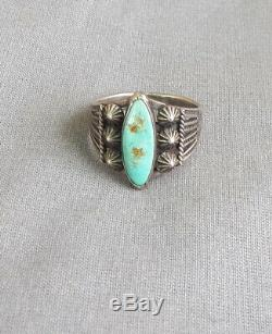 Vintage Fred Harvey Era Silver Snake Thunderbird Stamps Turquoise Ring Size 9