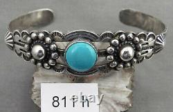 Vintage Fred Harvey Tourist Style, Stamped, Turquoise & Sterling Navajo Bracelet