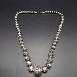 Vintage Graduated HandMade Stamped Sterling Silver Beads NECKLACE Navajo Pearls
