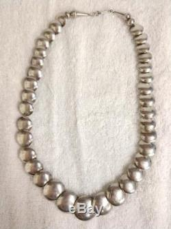 Vintage Graduated Navajo Pearls Sterling Silver Hand Stamped Beaded Necklace