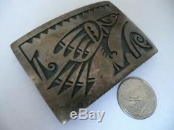 Vintage HOPI Sterling Silver Overlay Eagle Belt Buckle