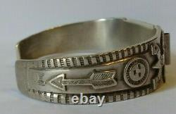 Vintage Hallmarked 1930's Navajo Indian Silver Arrows Knifewing Watch Band Cuff