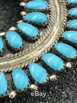 Vintage Handmade Navajo Turquoise & Sterling Silver Squash blossom Necklace LMB